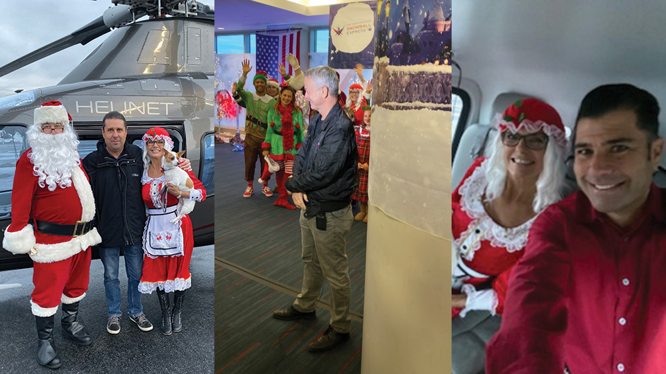 Helinet Supports 2019 Gary Sinise Foundation Snowball Express event at LAX with Santa and Mrs. Claus Fly-In